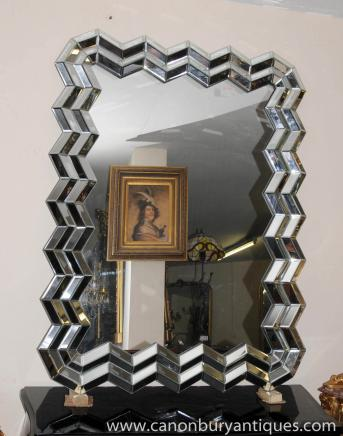 Art Deco Glass Crinkle Mirror Mirrors 1920s
