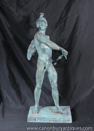 Bronze Roman Gladiator Statue Figurine Winged Helmet Italian Bronzes