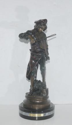 Bronze Violin Player Boy Statue Signed Lulli Gaudez