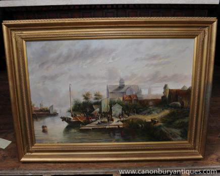 Dutch Oil Painting Landscape Boat Rustic Scene Signed Gilt Frame