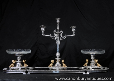 Elkington Silver Plate Center Piece Epergne Cherub Candelabras Sheffield