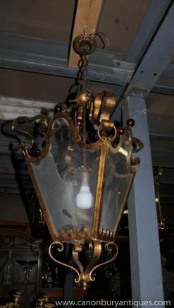 French Art Nouveau Chandelier Lamp Light Ormolu Lantern