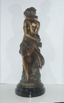 French Bronze Female Figurine Seated Maiden by Moreau