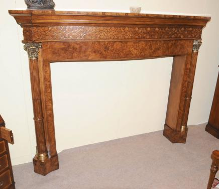 Hand Carved Regency Mantle Fire Place Surround Walnut Fireplace