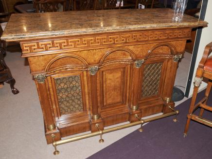Hand Carved Victorian Walnut Drinks Bar Wine Cellar