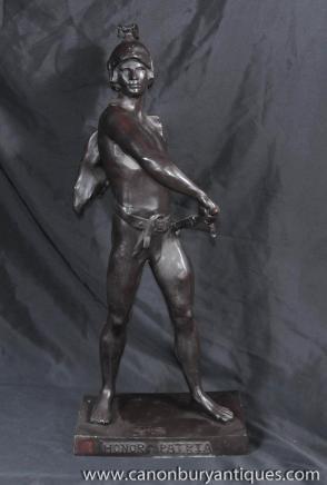Italian Bronze Roman Gladiator Statue Honor Patria