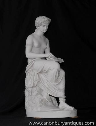 Italian Stone Figurine Corinna Lyric Muse Roman Classical Myth