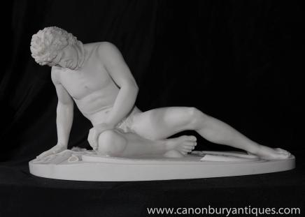 Italian Stone Nude Male Statue Wounded Soldier Roman Myth