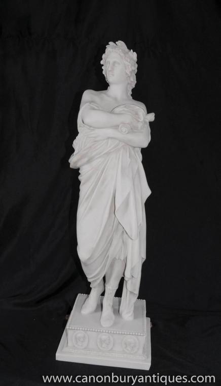 Italian White Stone Apollo Statue Figurine Roman Myth