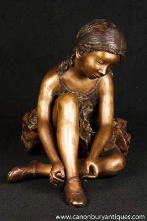Large French Bronze Ballerina Girl Statue Degas Figurine