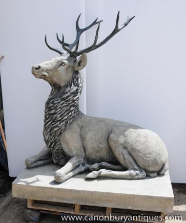 Lifesize Stone Bronze Scottish Stag XL Elk Moose Caribou