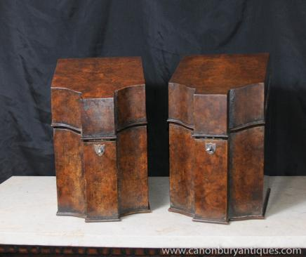 Pair Antique Regency Stationary Letter Boxes Burl Walnut