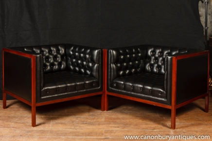 Pair Art Deco Box Club Chairs Arm Chairs Button Leather