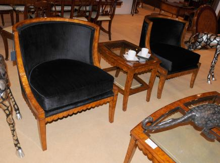 Pair Biedermeier Club Chairs Sofas Burr Walnut Deco Arm
