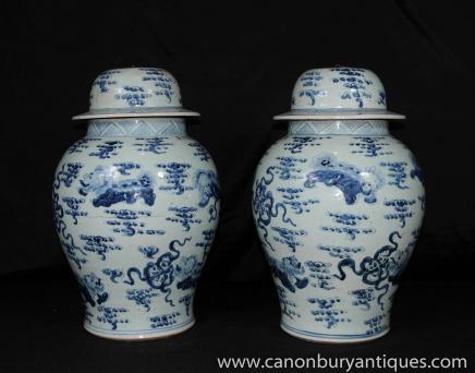 Pair Blue White Chinese Porcelain Vases Lidded Urns Nanking Pottery