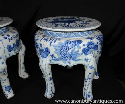 Pair Chinese Nanking Potter Stools Blue White Porcelain