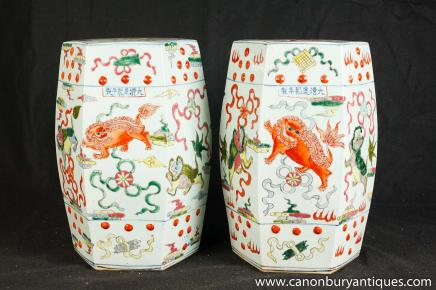 Pair Chinese Porcelain Garden Seats Chair Stool Doucai Kangxi