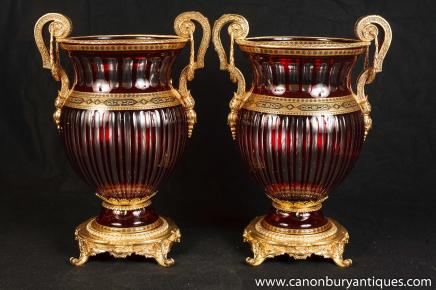 Pair French Empire Campana Urns Cut Glass Louis XV Ormolu
