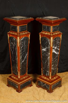 Pair French Empire Marble Pedestal Table Stands Columns