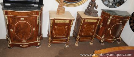 Pair French Louis XV Credenzas Serpentine Sideboards Cupboards