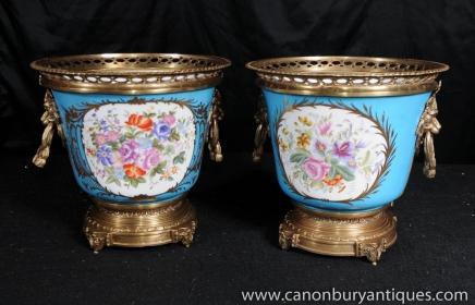 Pair German Dresden Porcelain Cache Pots Planters Urns