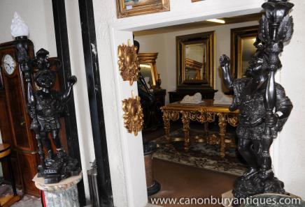 Pair Italian Bronze Dwarf Blackamoor Torcheres Statues Candelabras