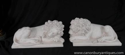 Pair Italian White Stone Lions Recumbant Gatekeeper Statue