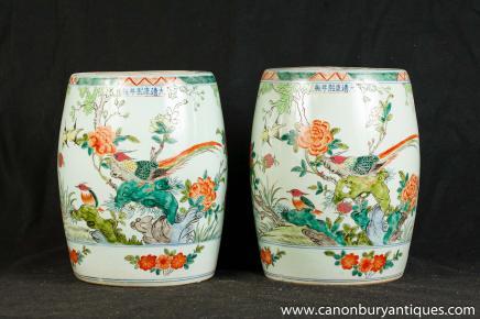 Pair Japanese Kakiemon Porcelain Garden Seats Stools Vases