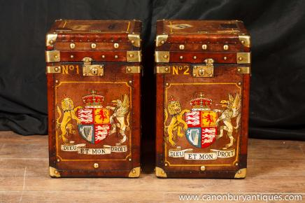 Pair Leather Luggage Trunk Side Tables Coffee Table Box