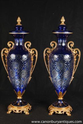 Pair Louis XV Crystal Glass Vases Ormolu Urns Amphora Vase