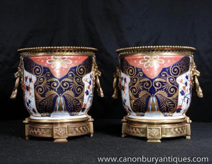 Pair Sevres Porcelain Cache Pots Planters Urns Floral Urn
