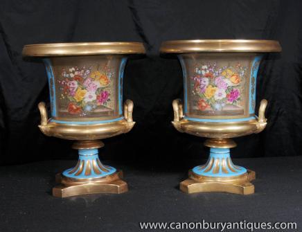 Pair Sevres Porcelain Campana Urns Vases Floral Planters