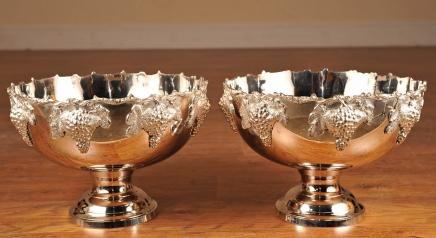 Pair Sheffield Silver Plate Punch Bowls English