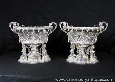 Pair Silver Plate Cherub George II Urns Tureens Silverplate