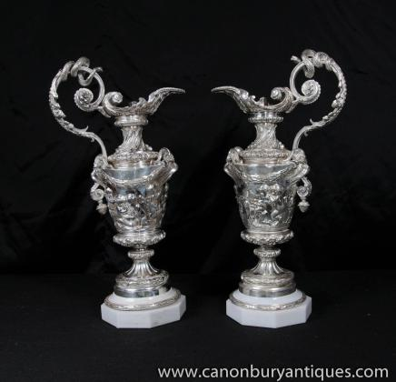 Pair Victorian Silver Plate Cherub Jugs Vases Urns Sheffield