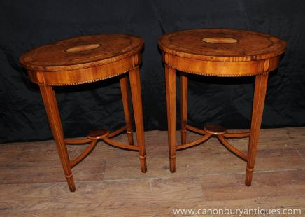 Pair Walnut Sheraton Regency Inlay Side Tables Cocktail Tables