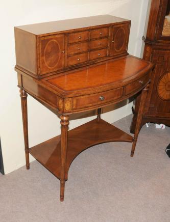 Regency Bonheur Du Jour Desk Writing Table Cabinet Walnut