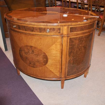 Regency Demi Lune Cabinet Satinwood Inlay Furniture