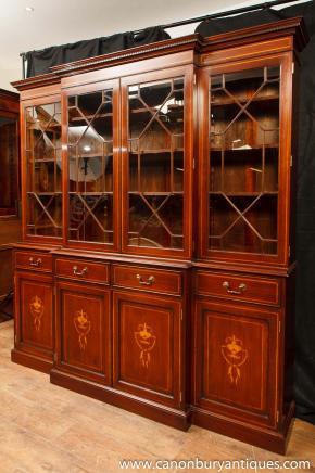 Regency Mahogany Breakfront Bookcase Sheraton Inlay Bookcases