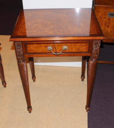 Regency Side Table Burr Walnut Carved Spiral Leg Tables