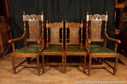Set 8 Antique William and Mary Carved Dining Chairs Oak Kitchen Chair