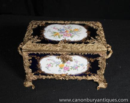 Sevres Porcelain Jewellery Box Ormolu Casket Floral Spray