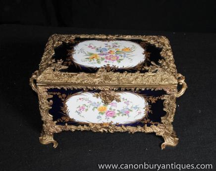 Sevres Porcelain Jewellery Box Ormolu Casket Floral Spray