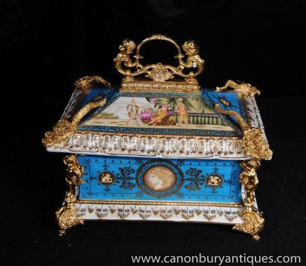 Sevres Porcelain Pagoda Jewellery Box Casket Ormolu Serpents Cherubs