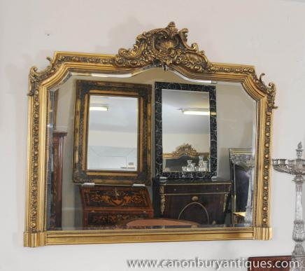 Victorian Over Mantle Gilt Mirror Carved Frame Mirrors
