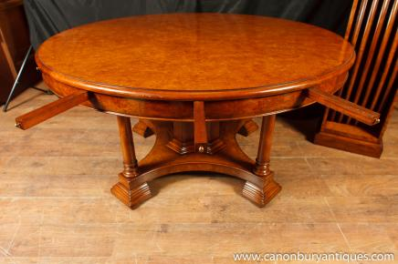Walnut Regency Jupe Table Extending Round Dining Tables