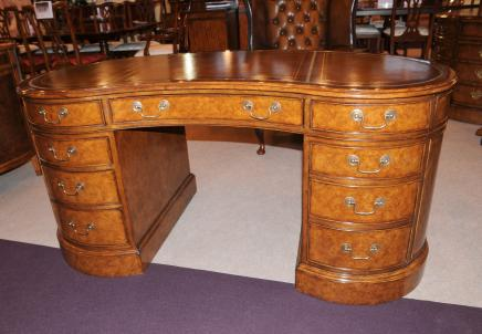 Walnut Regency Kidney Desk Writing Table Furniture