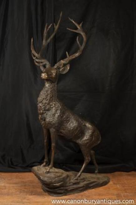 XL Bronze Stag Statue Garden Art Deer Moose Elk Caribou