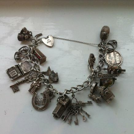 Antique Solid Silver Keepsake Charm Bracelet