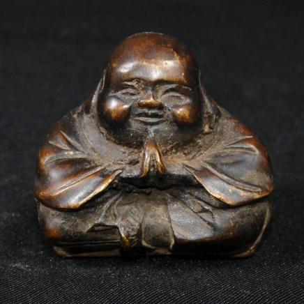 Antiqued Brass Praying Chinese Buddha Man